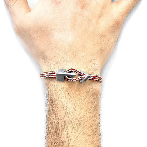 Red Dash Brixham Silver And Rope Bracelet-Men-HOUSE of BOTTA