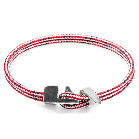 Red Dash Dundee Silver And Rope Bracelet