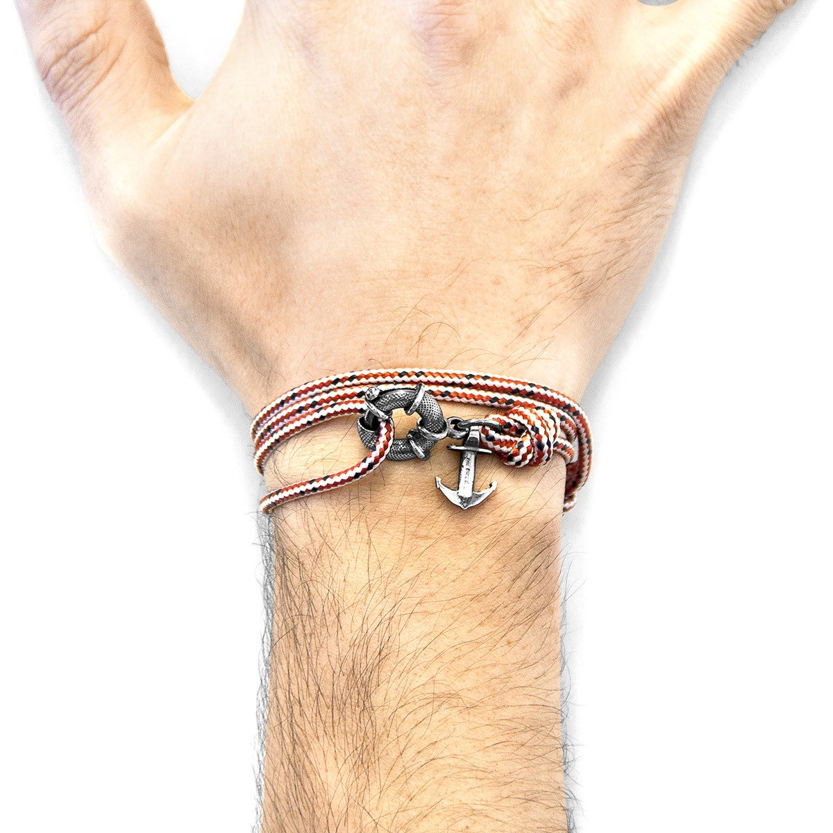 Red Dash Clyde Anchor Silver And Rope Bracelet-Men-HOUSE of BOTTA