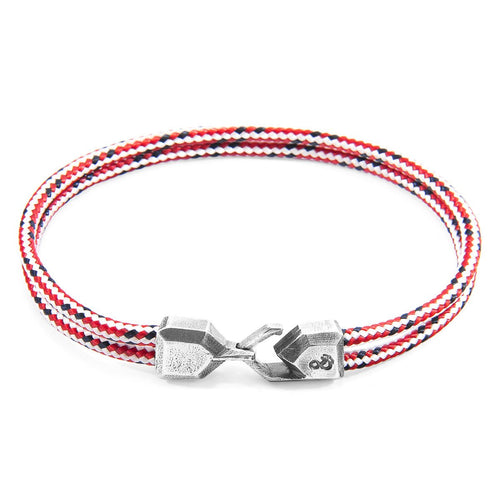Red Dash Cromer Silver And Rope Bracelet-Men-HOUSE of BOTTA