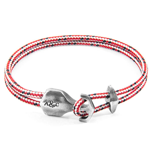 Red Dash Delta Anchor Silver And Rope Bracelet-Men-HOUSE of BOTTA