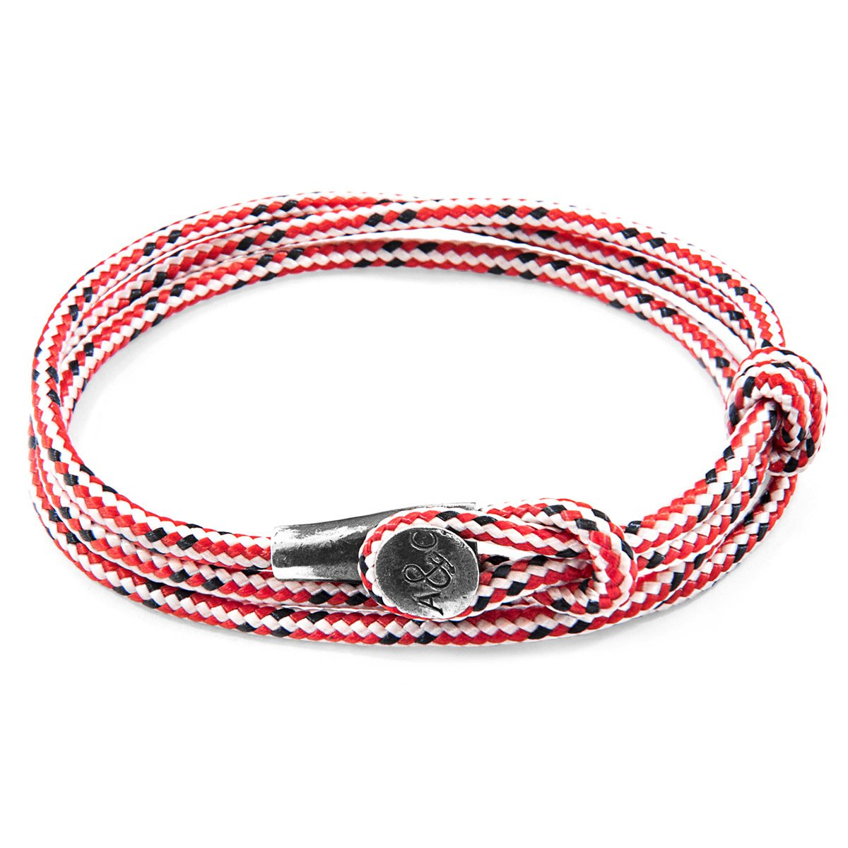 Red Dash Dundee Silver And Rope Bracelet-Men-HOUSE of BOTTA