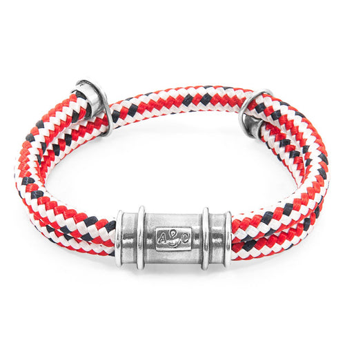 Red Dash Larne Silver And Rope Bracelet-Men-HOUSE of BOTTA