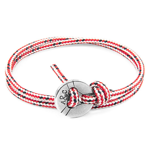Red Dash Lerwick Silver And Rope Bracelet-Men-HOUSE of BOTTA