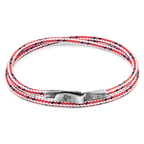 Red Dash Liverpool Silver And Rope Bracelet-Men-HOUSE of BOTTA