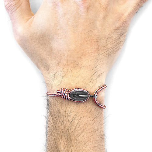 Red Dash London Silver And Rope Bracelet-Men-HOUSE of BOTTA