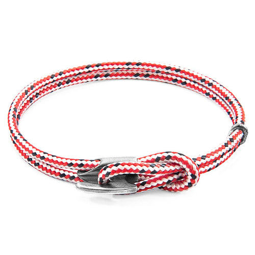 Red Dash Padstow Silver And Rope Bracelet-Men-HOUSE of BOTTA