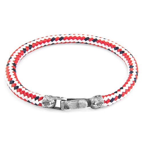 Red Dash Palgnton Silver And Rope Bracelet-Men-HOUSE of BOTTA