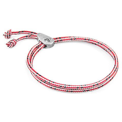 Red Dash Larne Silver And Rope Bracelet