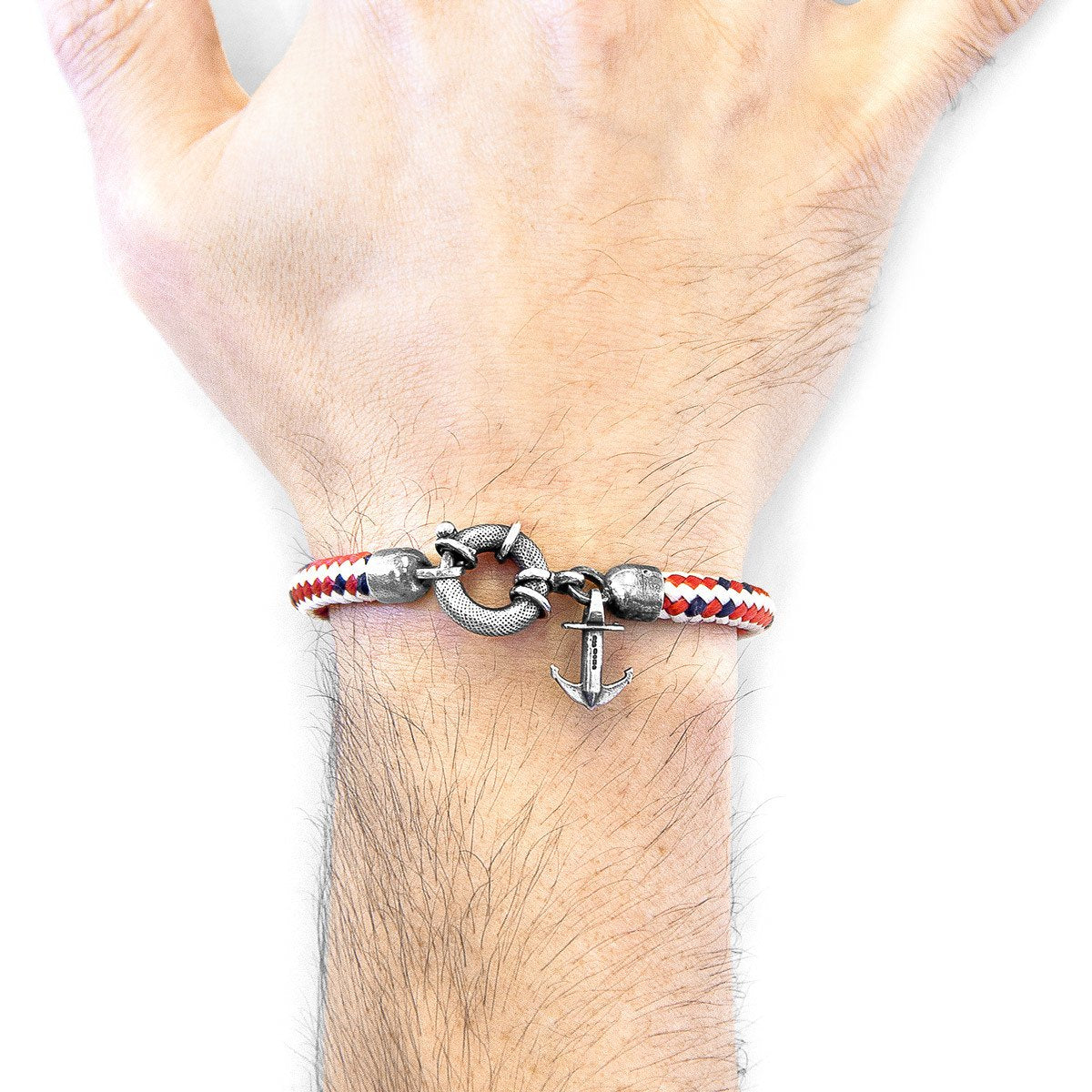 Red Dash Salcombe Silver And Rope Bracelet-Men-HOUSE of BOTTA