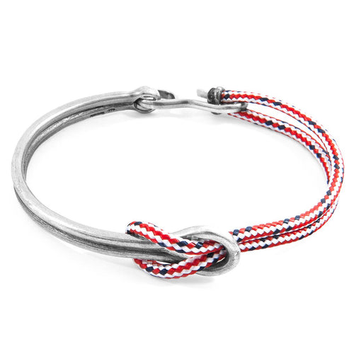 Red Dash Tay Silver And Rope Half Bangle-Men-HOUSE of BOTTA