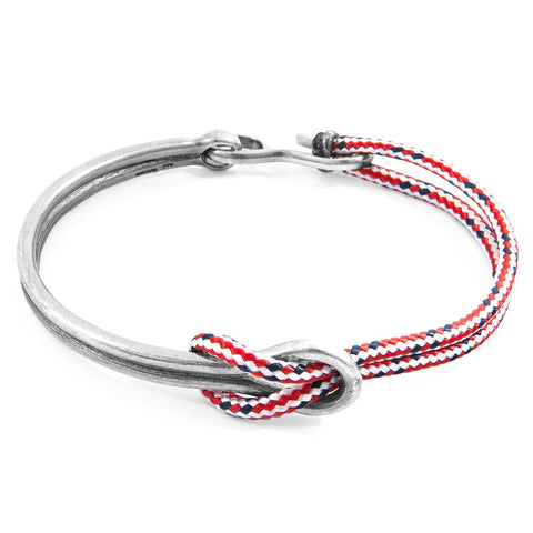 Red Dash Pembroke Silver And Rope Bracelet