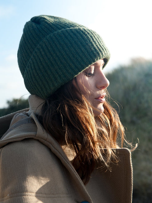 Reshaped Beanie Lambswool Hunter Green-MIMOODS KNITS-HOUSE of BOTTA