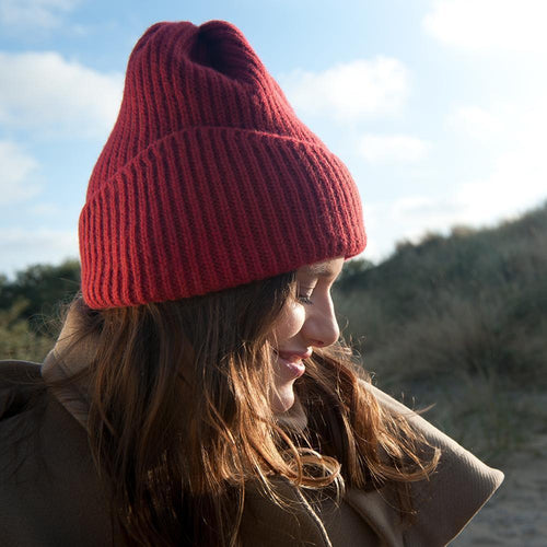 Reshaped Beanie Lambswool Terracotta-MIMOODS KNITS-HOUSE of BOTTA