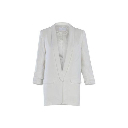 Ruched Sleeve Blazer in Bright White-Charlotte London-HOUSE of BOTTA