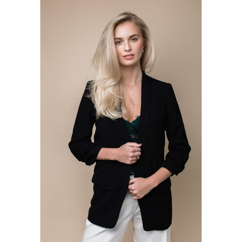 Ruched Sleeve Blazer in Jet Black-Charlotte London-HOUSE of BOTTA