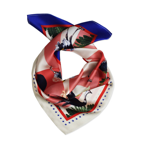 Savanna Ostrich Electric Blue Silk Scarf-Texas and the Artichoke-HOUSE of BOTTA
