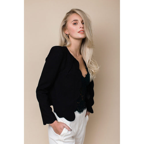 Scalloped Blazer in Jet Black-Charlotte London-HOUSE of BOTTA