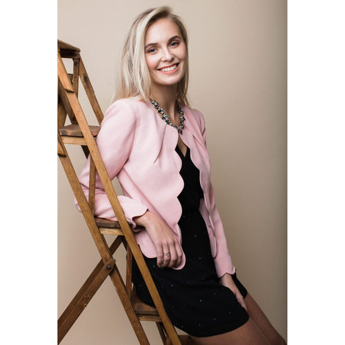 Scalloped Blazer in Pretty Pink-Charlotte London-HOUSE of BOTTA