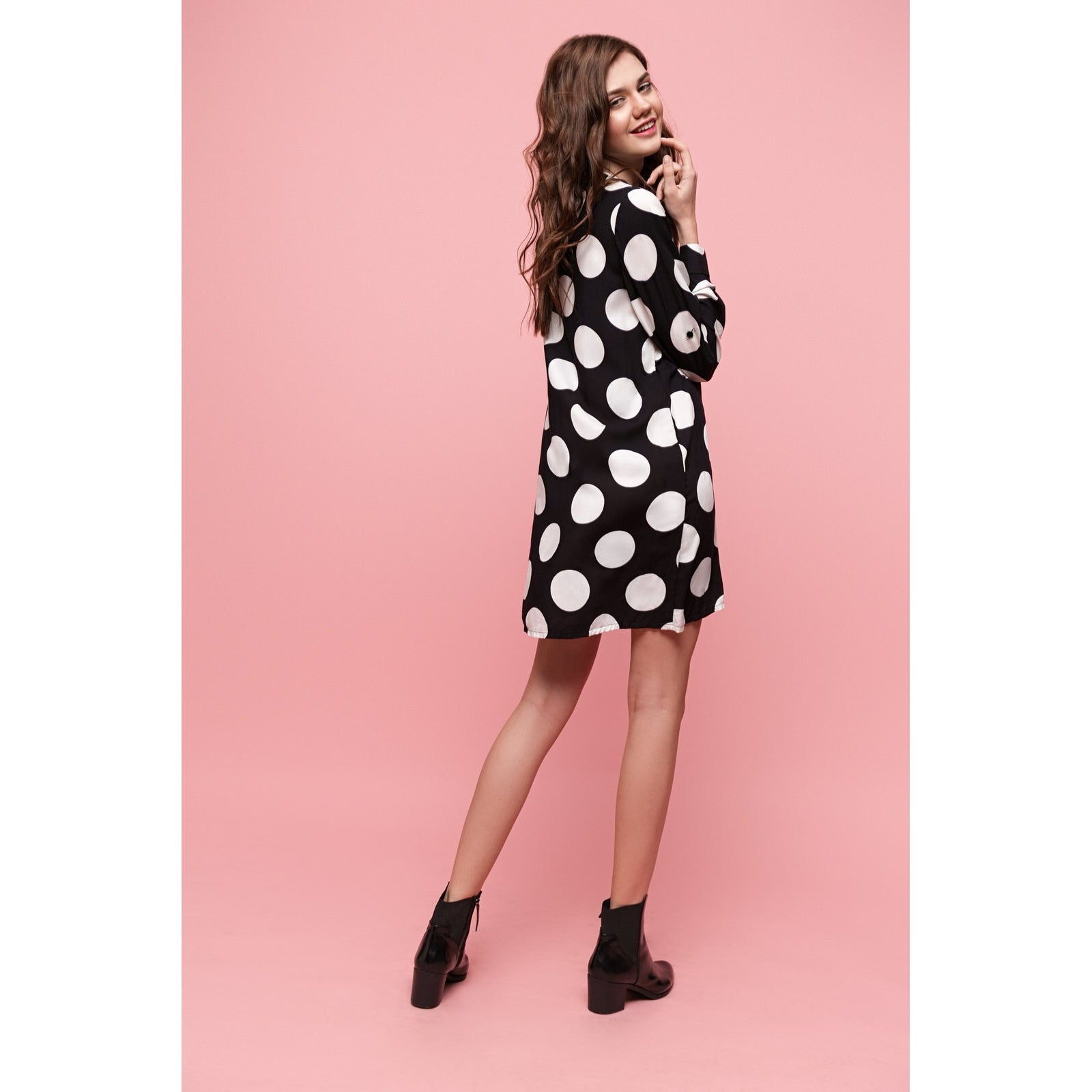 Shirt Polka Dot Cotton Dress My Black Side-OVER THE SEA-HOUSE of BOTTA