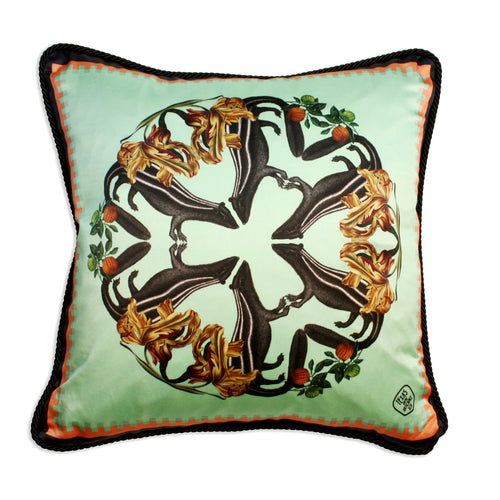 Skunk Detail Silk And Velvet Cushion-Homeware-HOUSE of BOTTA
