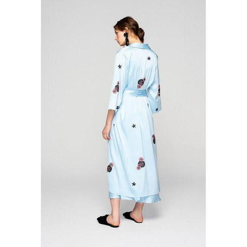 Sky Blue Silky Kimono With Embroidery 'We Just Be..'-OVER THE SEA-HOUSE of BOTTA