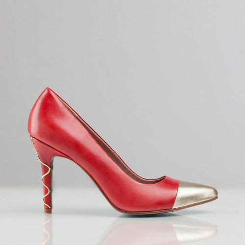 SWIRL PUMP DETAIL (Red) - Wide Fit-ARABEL MANNERS-HOUSE of BOTTA