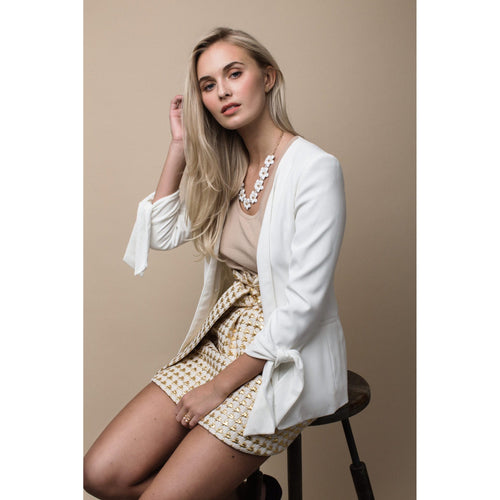 Tie Sleeve Blazer in Bright White-Charlotte London-HOUSE of BOTTA