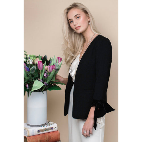 Tie Sleeve Blazer in Jet Black-Charlotte London-HOUSE of BOTTA