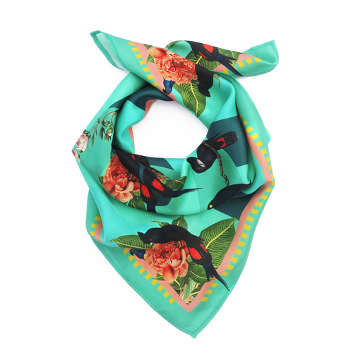 Tropical Rainforest Teal Silk Scarf-Texas and the Artichoke-HOUSE of BOTTA