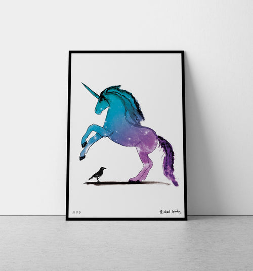 Unicorn with Crow Print-Homeware-HOUSE of BOTTA