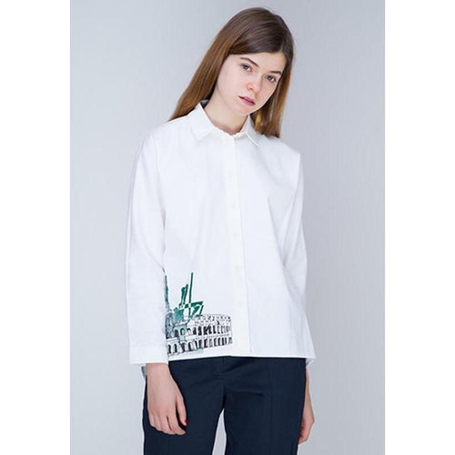 White Oversize Shirt-INSIDEU-HOUSE of BOTTA