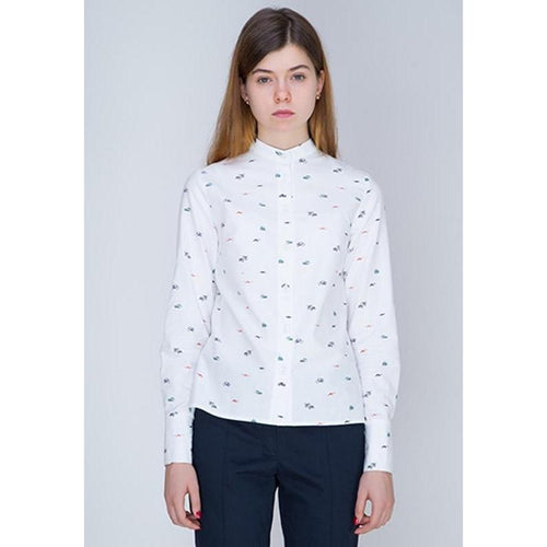 White Shirt Printed With Small Transport Devices-INSIDEU-HOUSE of BOTTA