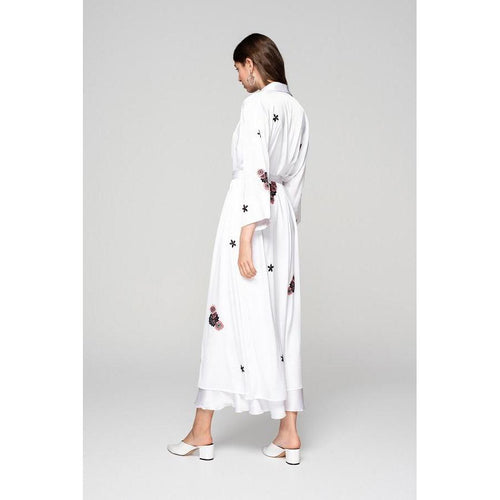 White Silky Kimono With Embroidery 'We Just Be..'-OVER THE SEA-HOUSE of BOTTA