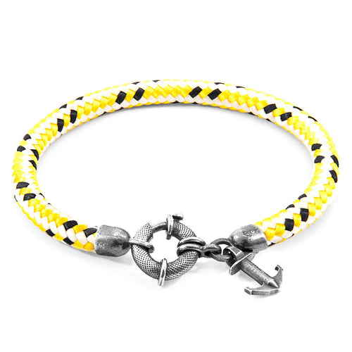 Yellow Dash Salcombe Silver And Rope Bracelet-Men-HOUSE of BOTTA