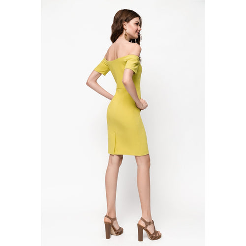 Yellow Off Shoulders Bodycon Dress Rise Of Dawn Royals-OVER THE SEA-HOUSE of BOTTA