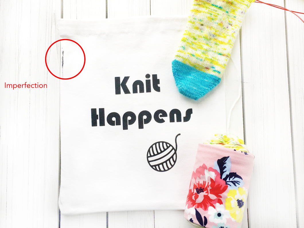 Oops Knit Happens Cotton Canvas Project Bag