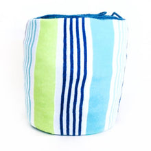 lime green, navy blue and turquoise blue striped yarn keeper
