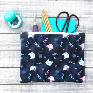 Cat Lover Zippered Pouch or Notions Bag