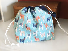 Blue Llama Jumper Drawstring Project Bag