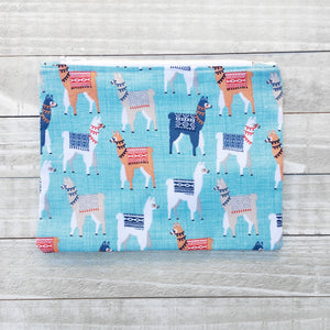 Blue Llama Zippered Pouch