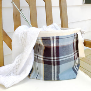 Blue Plaid Jumper Project Bag