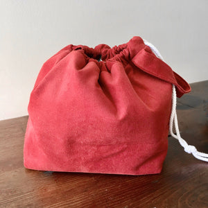 Burnt Orange Corduroy Large Drawstring Project Bag