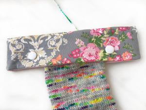 Gray & Pink Romantic Floral Project Bag