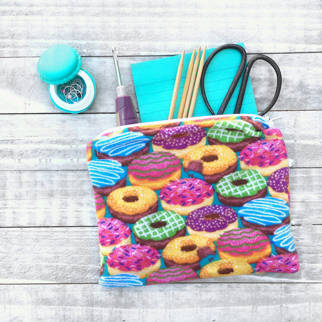 Doughnut Lover Zippered Pouch or Notions Bag