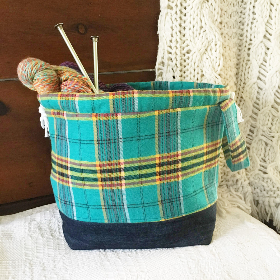 Fall Blue Plaid Drawstring Project Bag