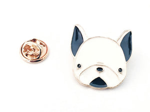 Close up front view picture of white Boston terrier dog pin
