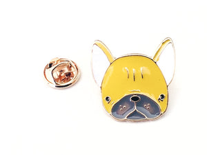 Closeup Front View on Yellow Boston Terrier Dog Pin