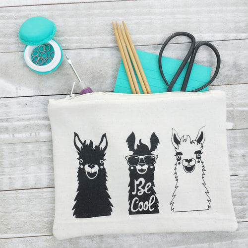 Funny Alpaca or Llama Zippered Pouch