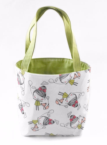 Green & White Balloon Girl Project Tote Bag